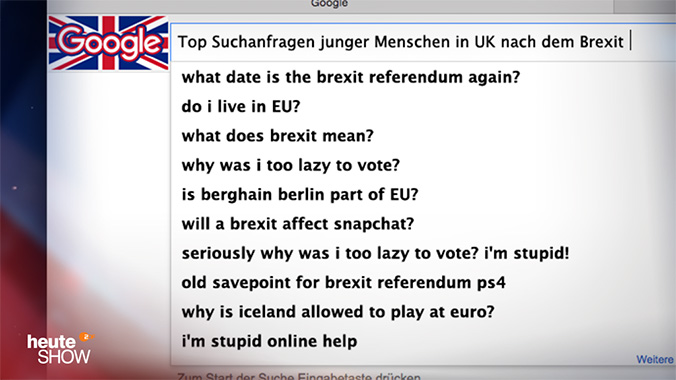 Was junge Briten nach dem Brexit-Votum in die Google-Suchleiste eingeben: what does brexit mean? why was I to lazy to vote?